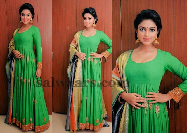 Amala Paul Green Floor Length Salwar