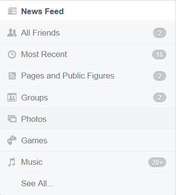 Facebook news feed categories
