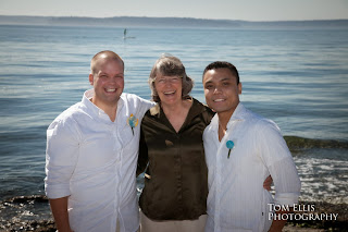 Jeff, Pat and Ian after the wedding - Patricia Stimac, Seattle Wedding Officiant
