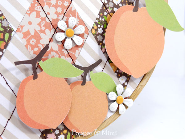 Paper peach die cuts and flower brads | popperandmimi.com