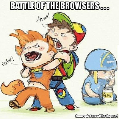 Battle Of The Browsers Funny Chrome Vs Firefox And Internet Explorer Eating Glue