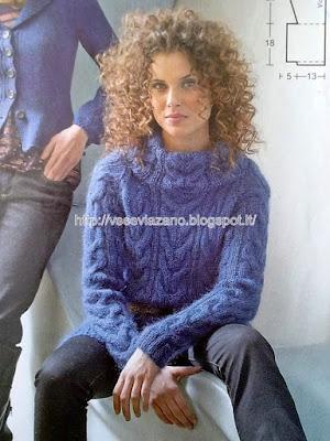 Пушистый свитер из мохера с  косами
