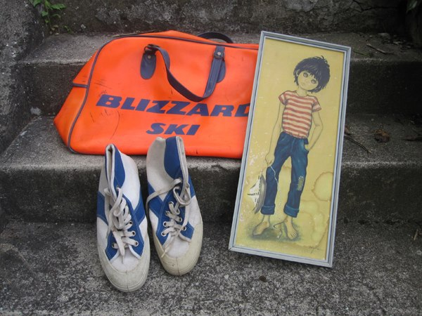 70s gymbag , vintage canvas sneakers orange blizzard ski 1960 60s 1970 70s big eye print