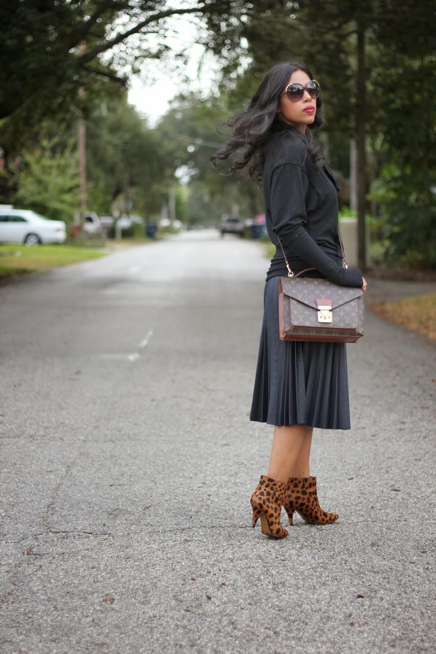Chloe sunglasses Louis Vuitton bag Leopard booties ankle boots Pleated Skirt Zara Sweatshirt black