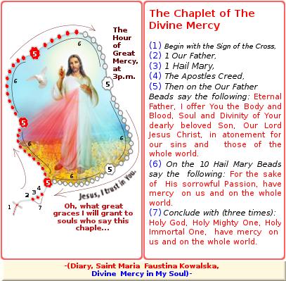 como se ora la coronilla a la divina misericordia en ingles