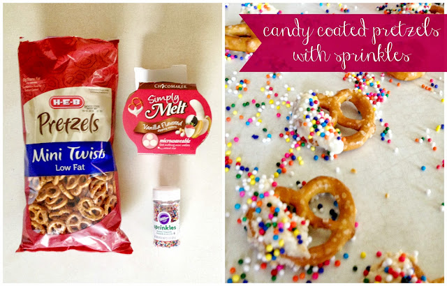 Vanilla Candy Coated Pretzels with Sprinkles