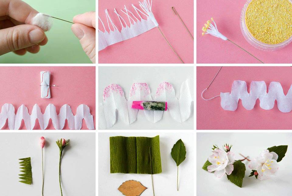 Цветок из бумаги креповой своими руками