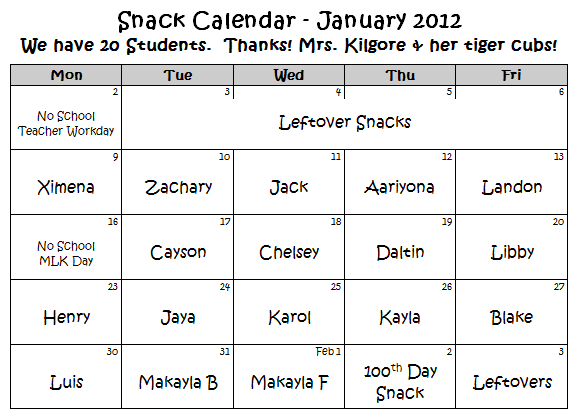 Kilgore's Kindergarten Communicator: January 2012 Snack Calendar
