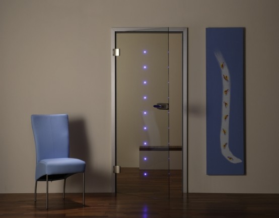 Puertas de vidrio con luces led ideas para decorar - Puertas de vidrio para interiores ...