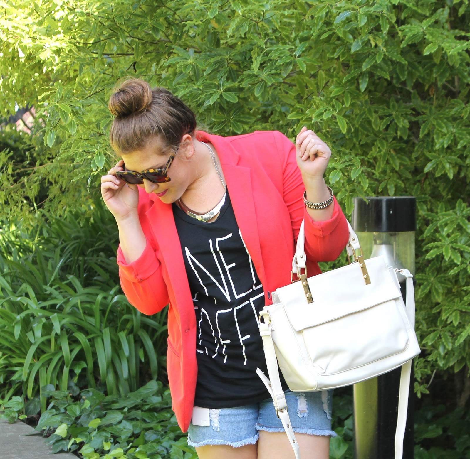 Shorts, Necklace   T-shirt  Forever 21    Blazer  Target    Bag and Flats   Asos    Sunglasses  Karen Walker via Poshmark 5f2e9ed04a