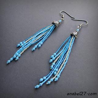 купить длинные серьги из бисера голубые подарок