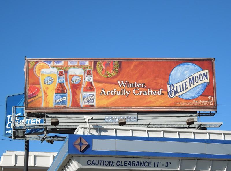 Blue Moon Beer Winter Artfully crafted billboard