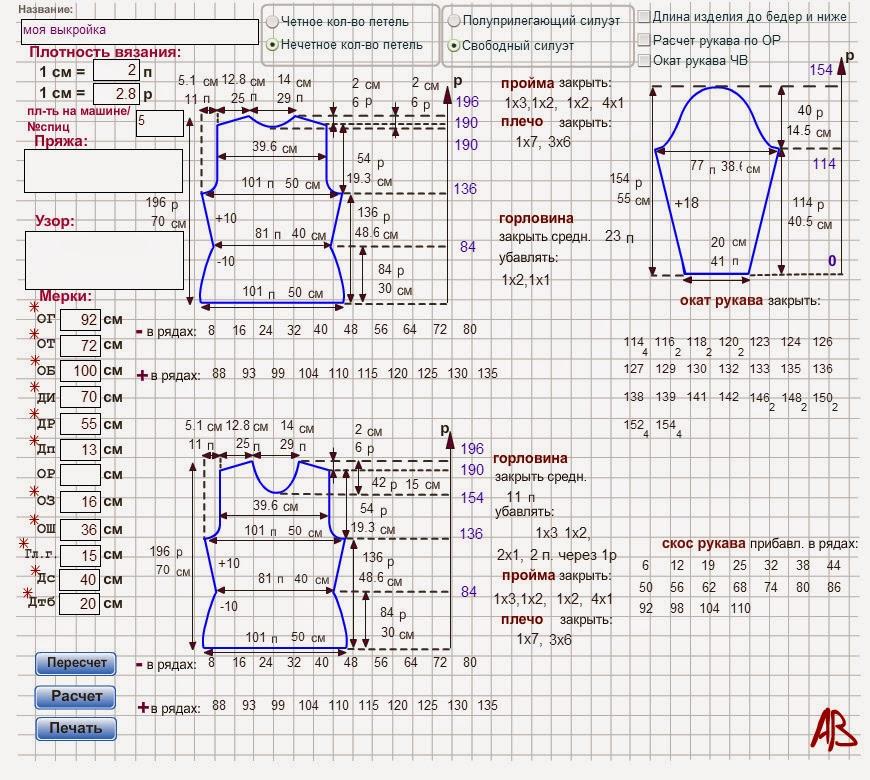 Программа для расчета выкройки для шитья