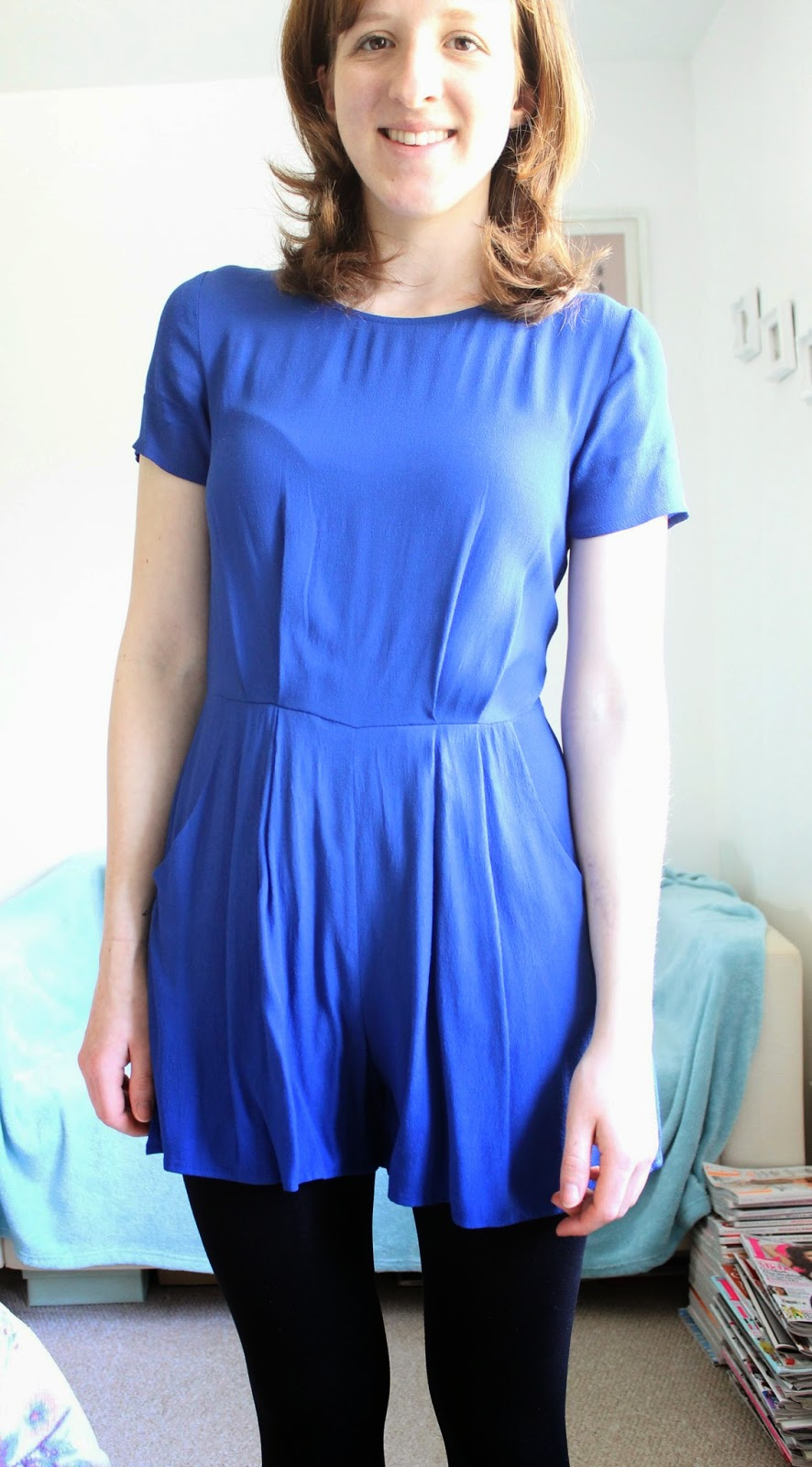 Blue Capped Playsuit New Look