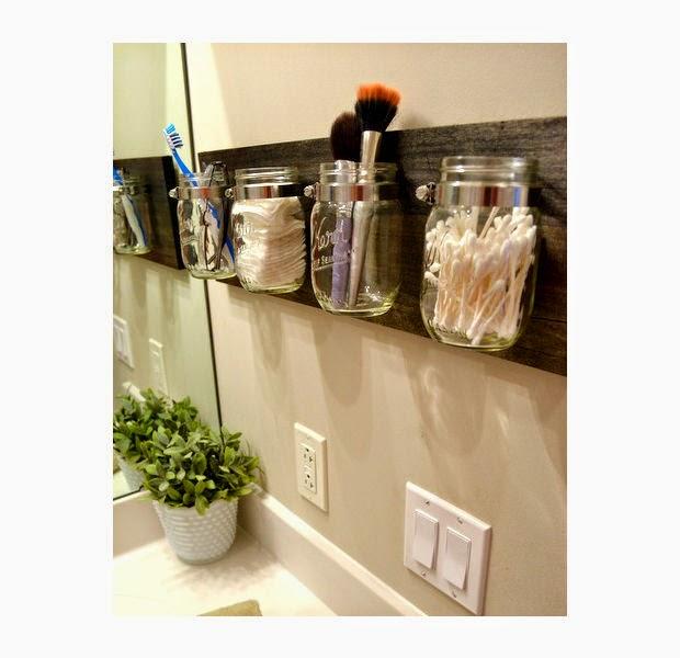 Mueble Aparador Jardin ~ Croche e Pontos Artesanato com potes de Maionese