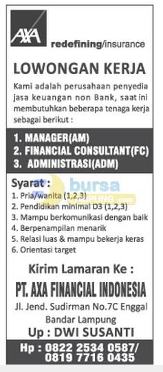 Lowongan Manager, Admin PT. AXA Financial Indonesia
