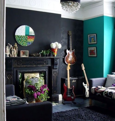 teal and black room images pictures becuo