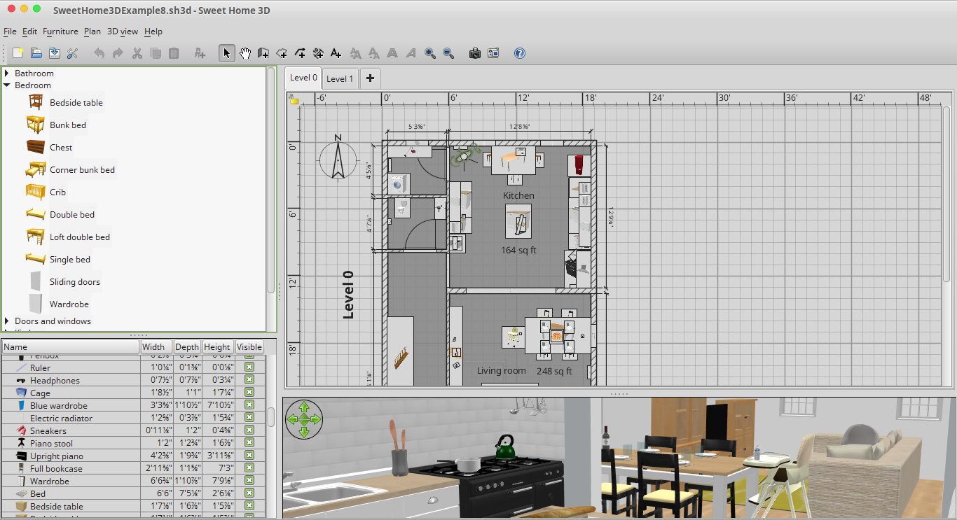 3D Max in Linux with Sweet Home 3D to Design Interior