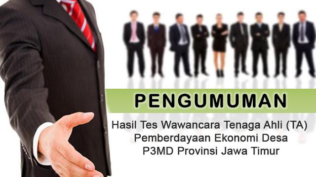 Hasil Tes Wawancara TA Pemberdayaan Ekonomi Desa Jawa Timur.