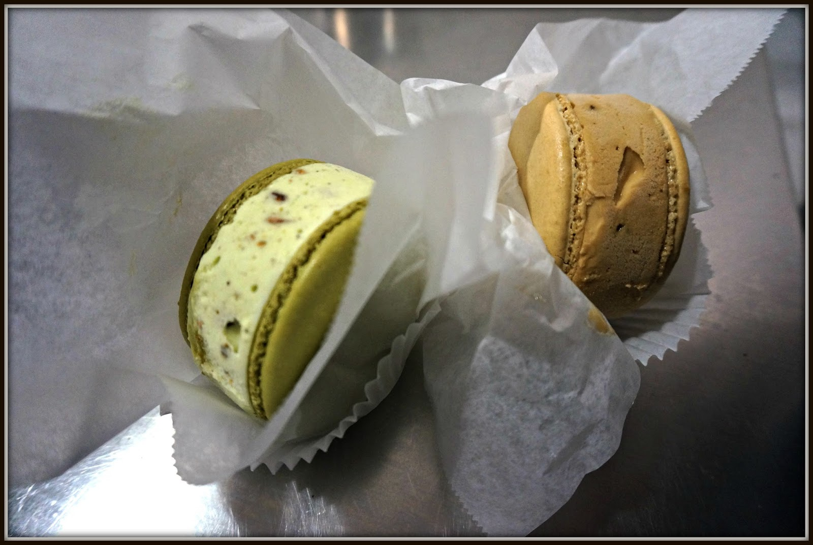 Macaron Ice Cream: Pistachio and Coffee Toffee