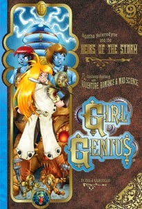 cover art for The Heirs of the Storm, featuring Agatha in a lab coat before Gil and Tarvek, both of whom have turned blue