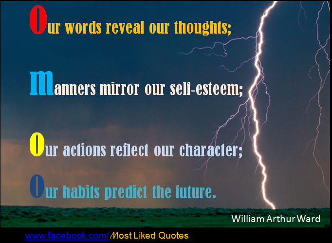our thoughts and actions as a reflection of our character