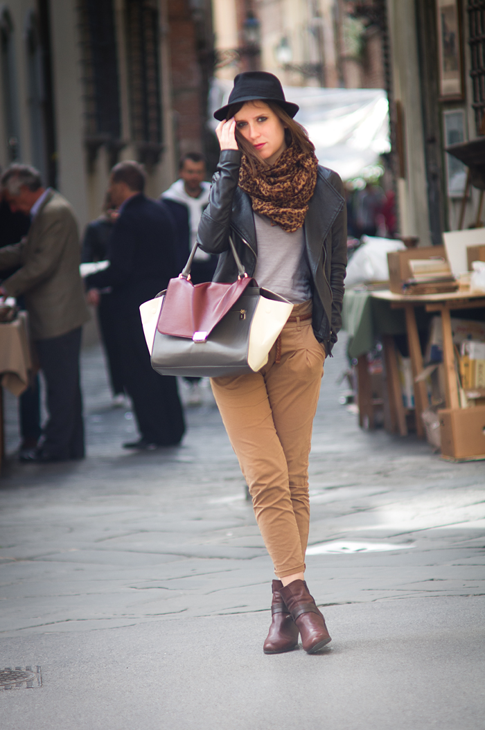 Bag, Leather Jacket, Outfit, Trousers, Black, Burgundy, Beige, Hat, Scarf, Animalier