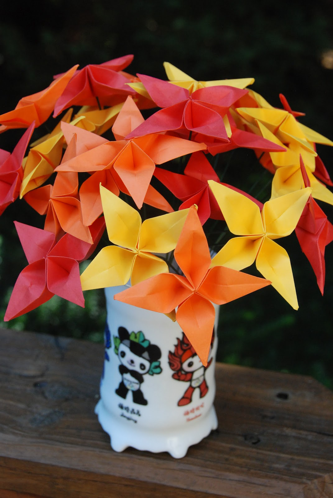 Everything origami this is perhaps one of my favorite flowers yet shop link httpsetsylisting107708385origami star flowers warm autumn bouquet all proceeds mightylinksfo