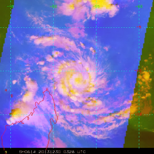 Image satellite forte tempête tropicale Bejisa 30/12/13