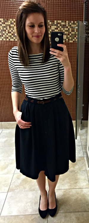 Pinspired Outfits Lately - Striped top + Midi Skirt