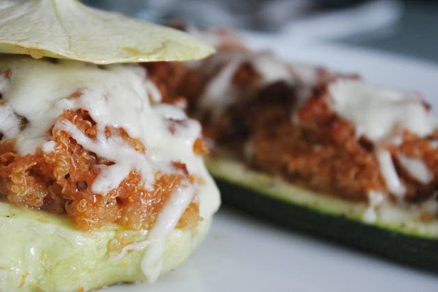 Stuffed zucchini and pattypan squash topped with mozzarella
