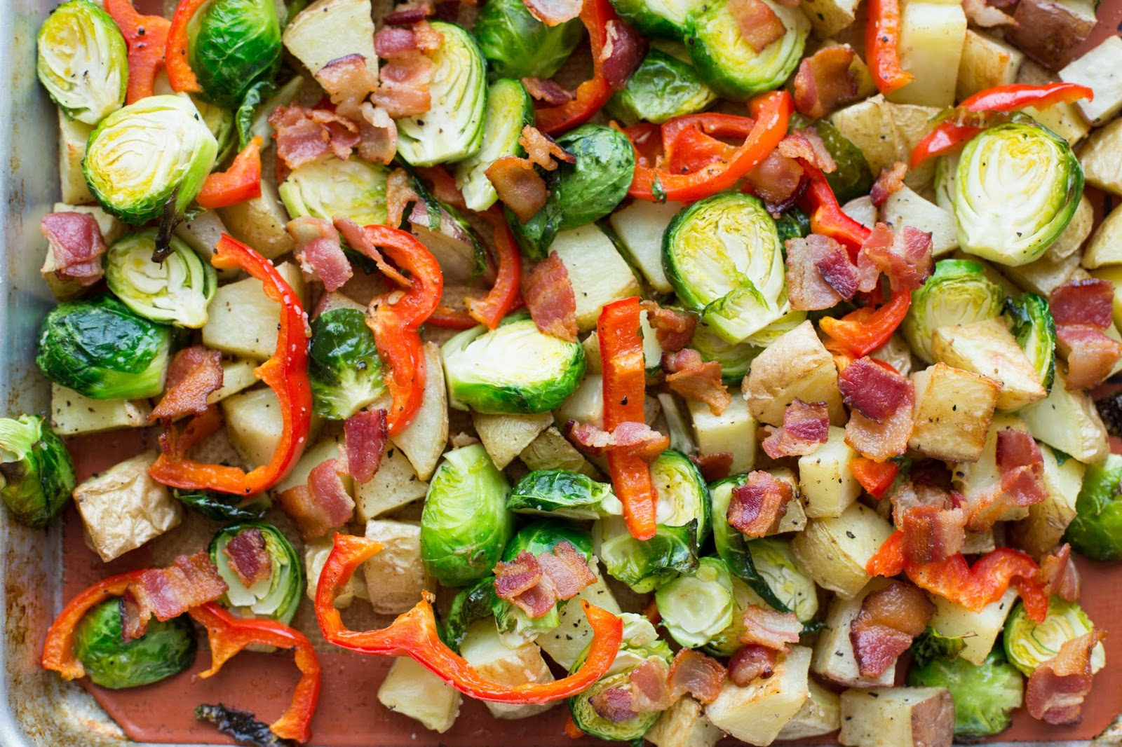 ... The Kitchen: Roasted Potatoes, Brussels Sprouts, Red Pepper and Bacon