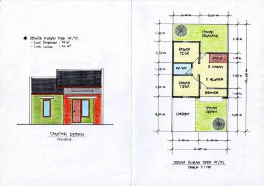sketsa denah rumah minimalis type 27 yang bagus