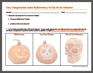 Holidays of Halloween and Día de los Muertos Compared - Activity by AnneK at Confesiones y Realidades