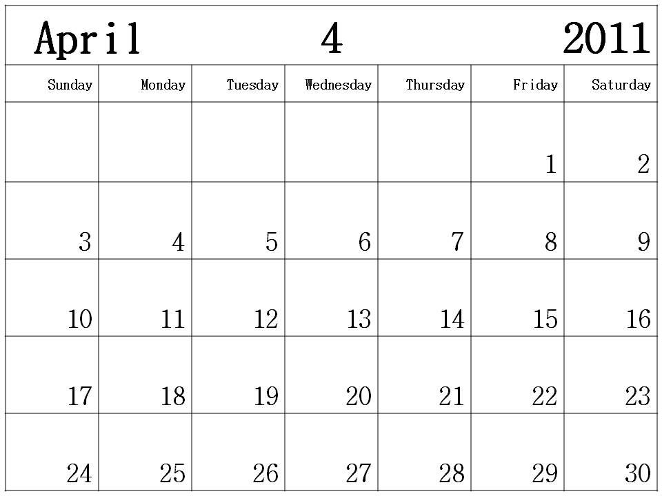 april 2011 calendar australia. april 2011 blank calendar.