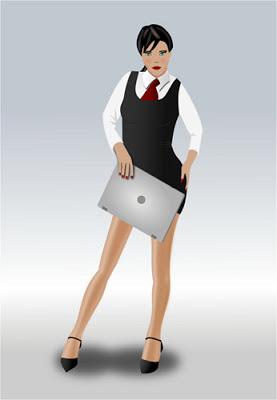 Mujer con laptop ilustración