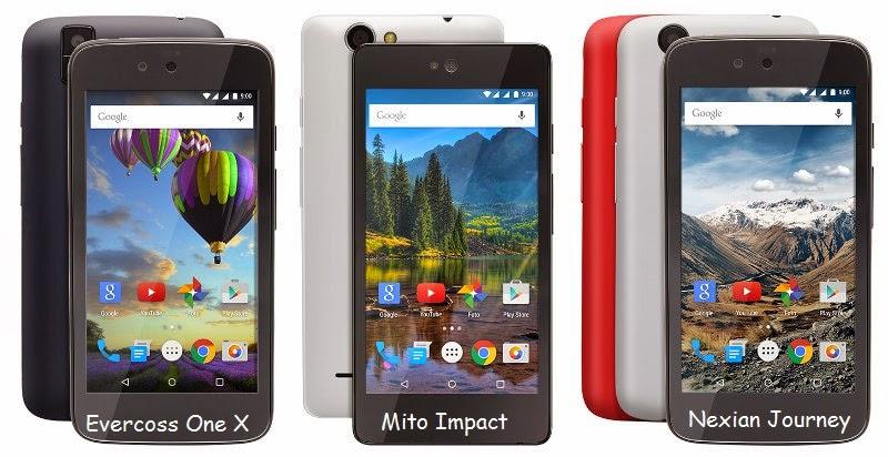 harga spesifikasi Evercoss One X, Mito Impact, dan Nexian Journey
