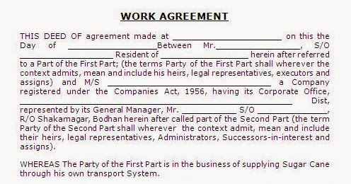 Work contract agreement format in india thecheapjerseys Gallery