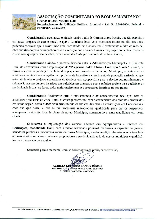 Ofício enviado ao IFBaiano, solicitando Cursos Técnicos para Canavieiras.