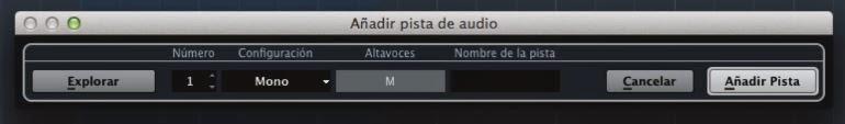 añadir pista de audio cubase 7