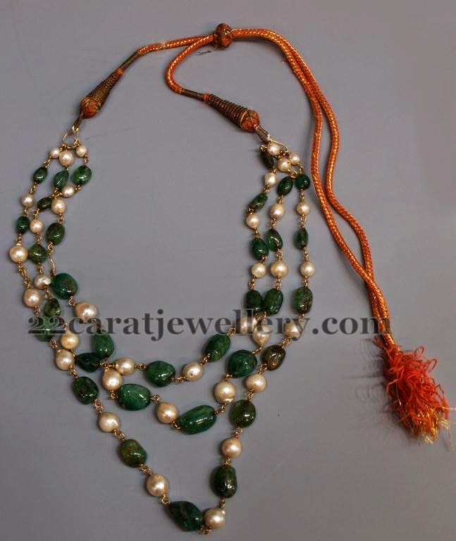Emerald South Pearls Multi Strings Set Jewellery Designs