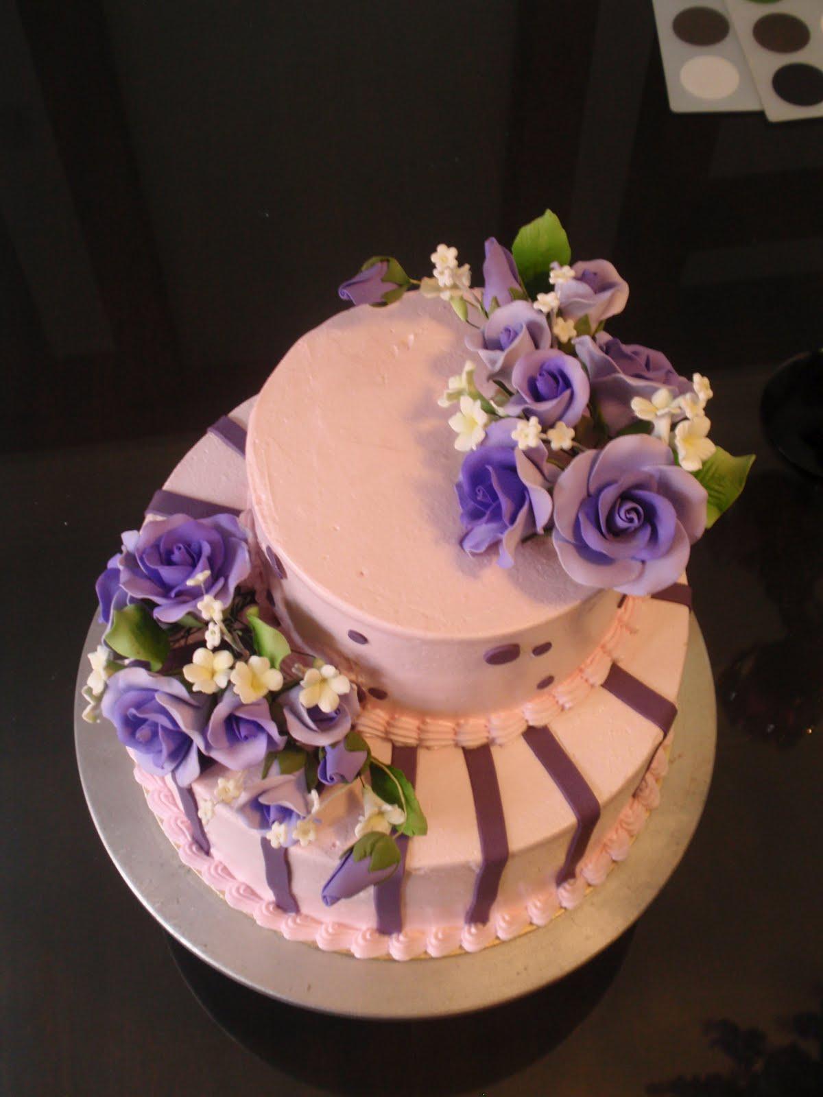 JUZCAKES 2 Tier Pink Purple Wedding Cake