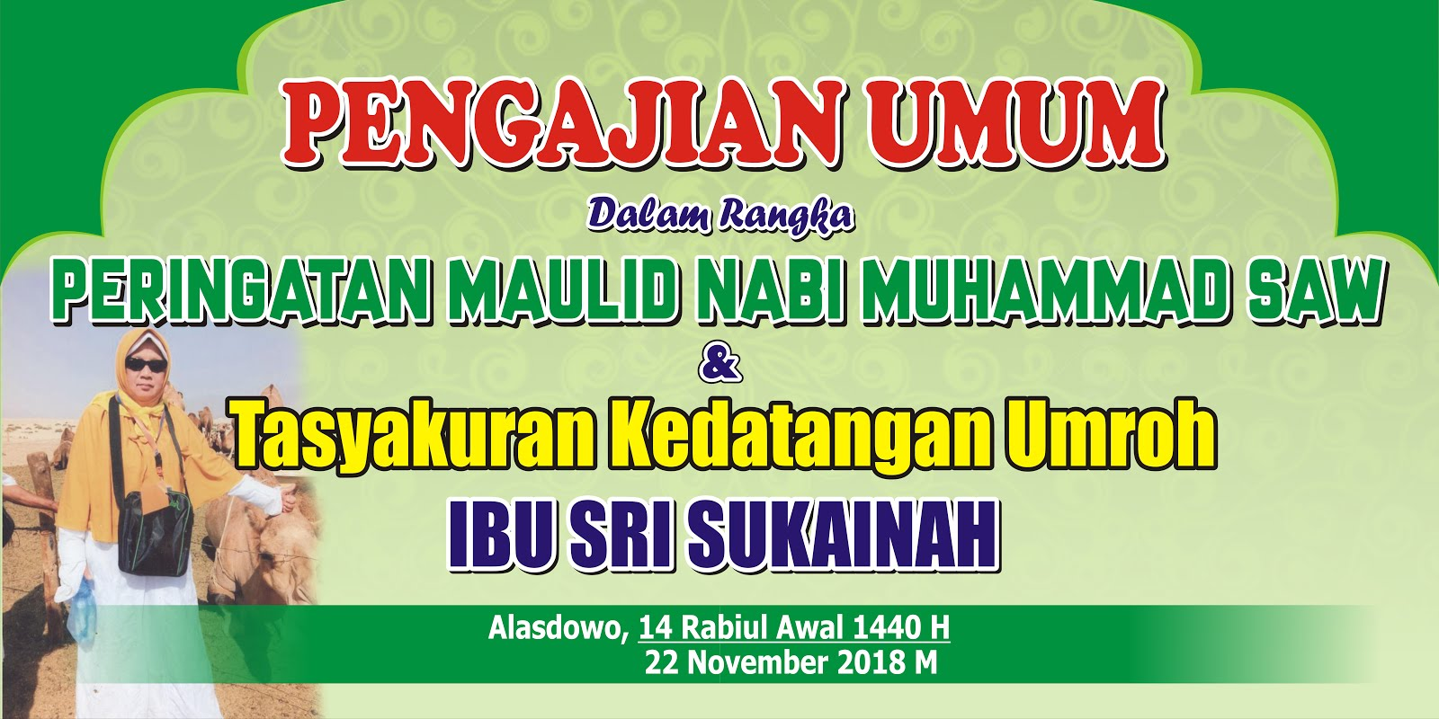 Banner Pengajian Umum Peringatan Maulid Nabi Muhammad Saw H Tasyakuran Kedatangan Umroh