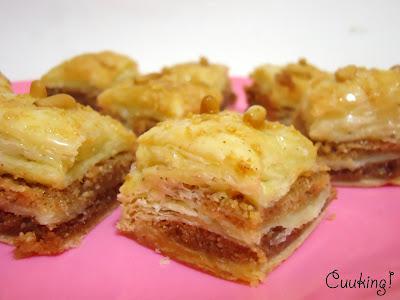Baklava hojaldrada de almendras, piñones y jengibre