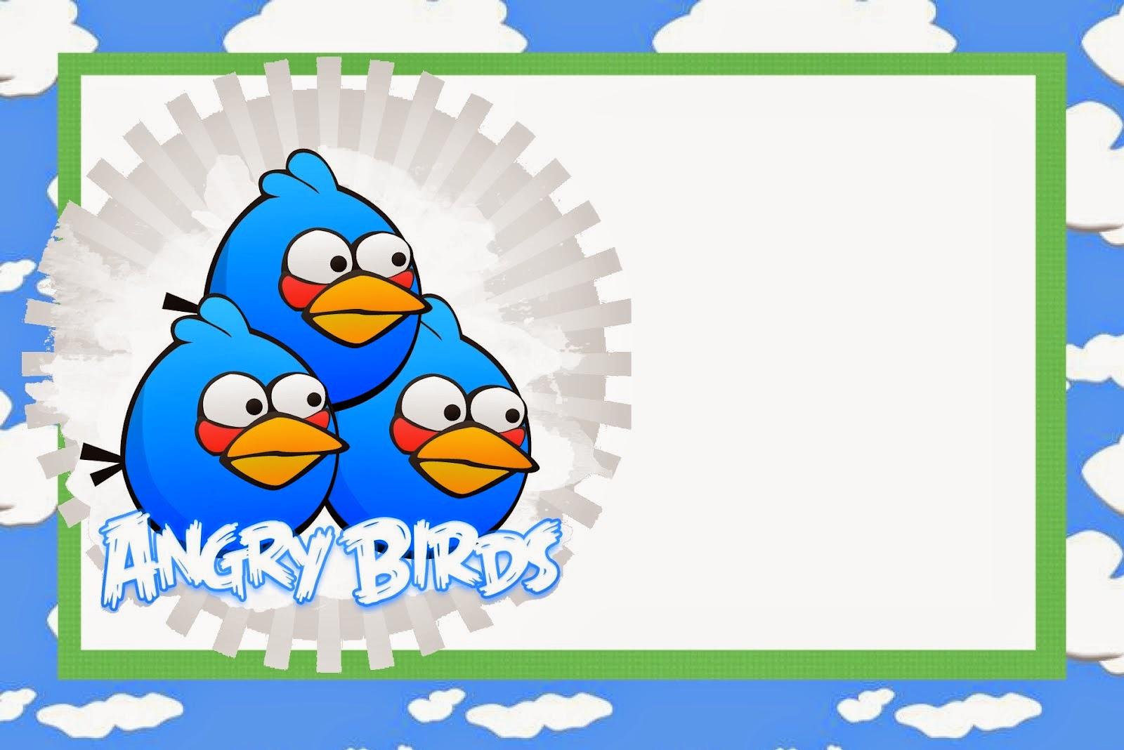 Para hacer invitaciones, tarjetas, marcos de fotos o etiquetas, para imprimir gratis de Angry birds con Nubes.