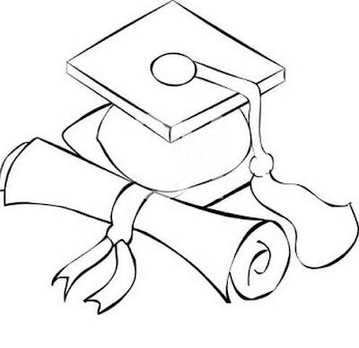 Dibujo De Birrete Y Diploma Para Colorear Y Pintar