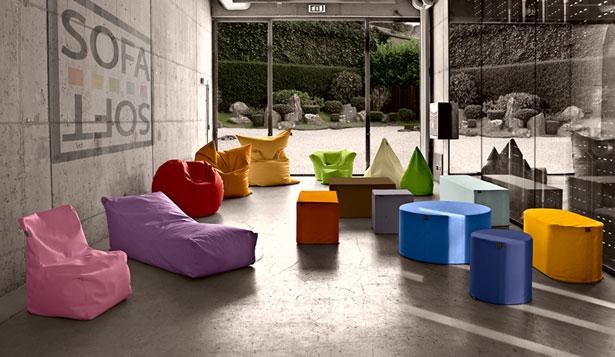 Sofa Soft, cuscini, poltrone sacco e sedute rigide