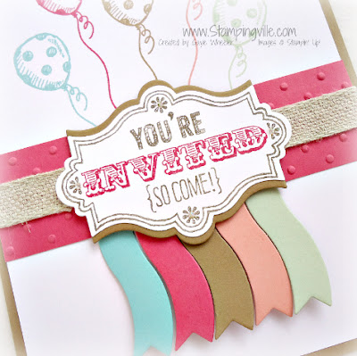 Party invitation detail with new Stampin' Up! In Colors