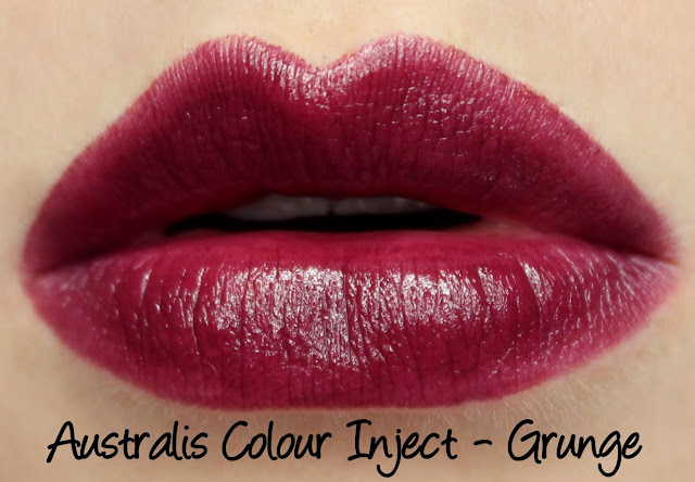 Australis Colour Inject Mineral Lipsticks - Grunge Swatches & Review