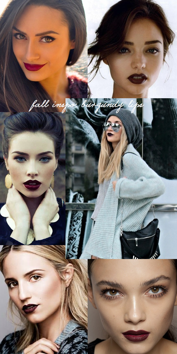 burgundy lips fall inspiration outfit